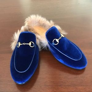 Gucci Princetown Velvet Slippers